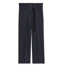 Relaxed Hopsack Trousers Dark Blue