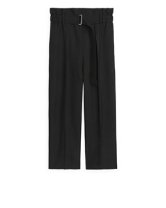 Relaxed Hopsack Trousers Black