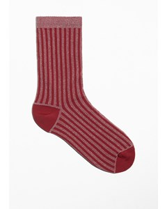 Lurex Rib Socks Red
