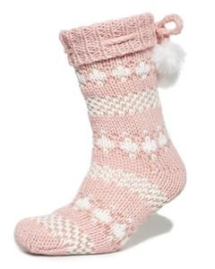 Sparkle Fairisle Slipper Socks Pink/rose Gold
