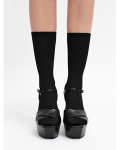 Mini Ribbed Mid-high Socks Black