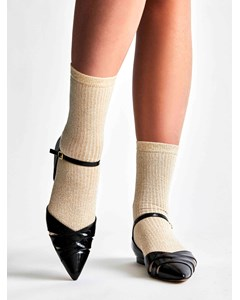 Metallic Ribbed Sock White/gold