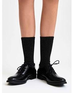 Metallic Ribbed Sock Black/silver