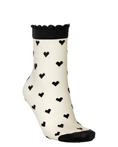 Dagmar Hearts Sock Black
