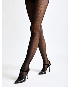 Stripe Jacquard Tights Black