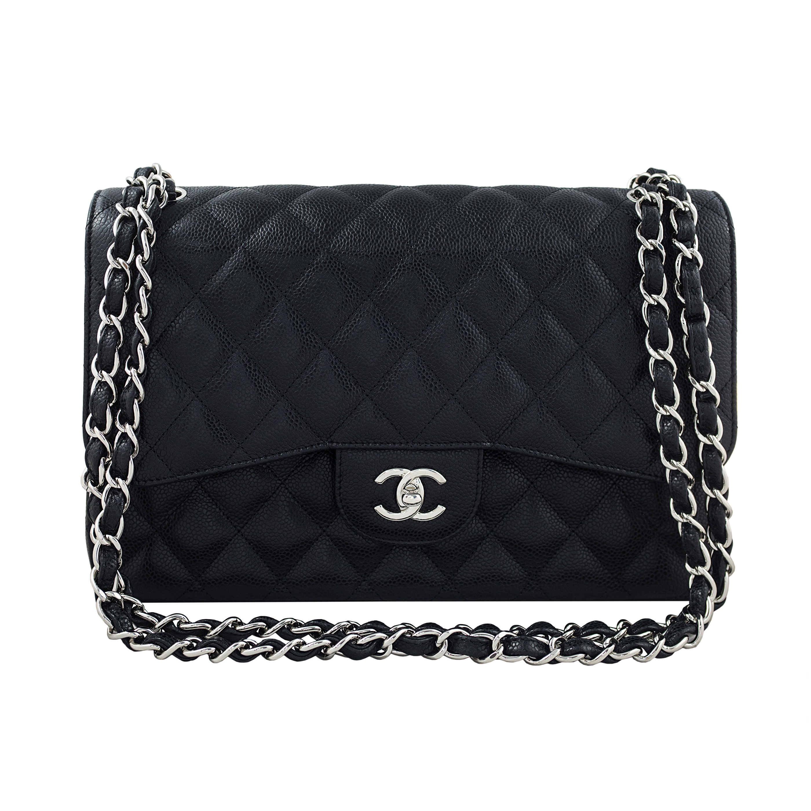 Chanel Jumbo Caviar Flap Bag - Condition Exterior: Excellent Interior: Excellent Hardware: Excellent Corners: Excellent Comments: One owner. Used rarely.  Brand: Chanel Age: 2009  Height: 19.5 cm Width: 30 Depth: 10  Accompanied By: Box, card, dust bag, sticker