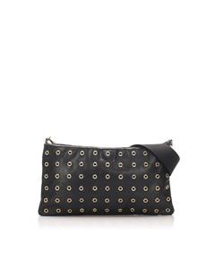 Prada Leather Grommet Crossbody Bag Black