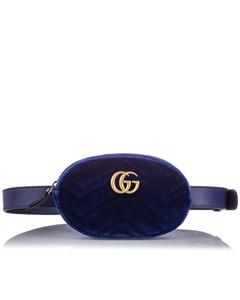 Gucci Gg Marmont Velvet Belt Bag Blue