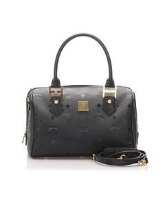 Mcm Nylon Visetos Boston Bag Black