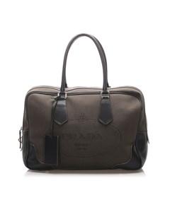Prada Canapa Canvas Travel Bag Brown